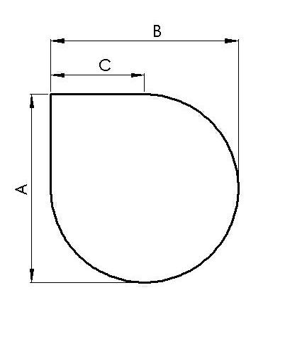 Glasbodenplatte Tropfen 1100 x 1100 mm mit Facette