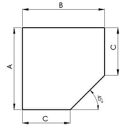 Metallbodenplatte Fünfeck 1100 x 1100 mm schwarz